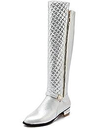 AllhqFashion Damen Niedriger Absatz Blend-Materialien Überknie Hohe Stiefel Stiefel, Golden, 34