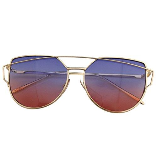 QQBL Männliches und Weibliches Allgemeines Tendenzpersönlichkeitsmetallharz UV400 Staubdichtes Vakuumgalvanisieren Sonnenbrille,Pinkpurple