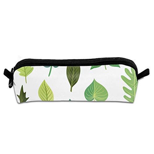 Green Leaves Pen Pencil Stationery Bag Makeup Case Travel Cosmetic Brush Accessories