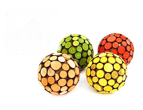 Boules décoratives bois Jeu de Disques 4tlg. Chaque Boule 9 cm