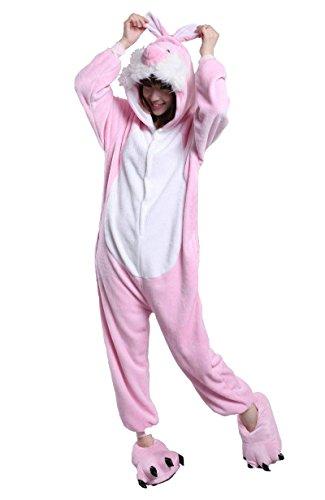 URVIP Unisex Festliche Anzug Flanell Pyjamas Trickfilm Jumpsuit Tier Cartoon Fasching Halloween Kostüm Sleepsuit Party Cosplay Pyjama Schlafanzug Rosa Kaninchen ()