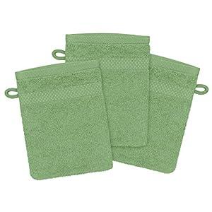 npluseins hochwertige Bio-Handtuchserie - erhältlich in 22 trendigen Unifarben oder 7 Streifen - in 7 verschiedenen Größen, 3er-Pack Waschhandschuhe 16 x 21 cm, Salbei