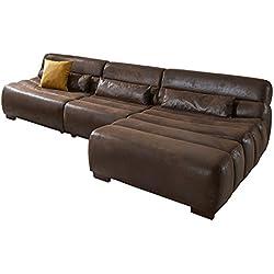 Cavadore Polsterecke Scoutano in Antiklederoptik mit Longchair rechts / Sofa L-Form mit XXL Longchair im Industrial Design / Größe: 268 x 76 x 170 cm (BxHxT) / Bezug in Antik Chocco / Holzfüße in antik