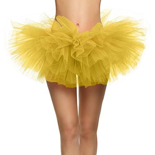 SRANDER Damen Tüllrock Tütü Tutu Petticoat 5 Schicht Ballet Tutu Tanz Röcke Einheitsgröße Gelb