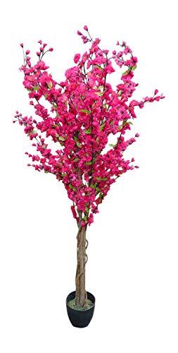 HomeAndGarden.UK 5'árbol Artificial–Rosa Oscuro, diseño árbol en Flor Artificial–1,7m Planta Artificial en...