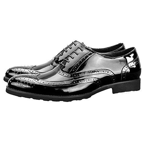 MERRYHE Herren Patent Echtes Leder Schuhe Round Toe Brogues Oxford Schuhe Handgefertigte Formelle Kleidung Schuh Für Hochzeit Arbeit Geschäft,Black-43 (Patent Kleidung Leder)