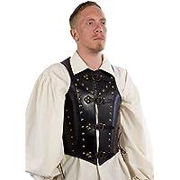 Estable LARP piel Armadura Soldier Talla M Piel tanque negro o marrón Medieval Vikingo Combate de exhibición, negro, medium