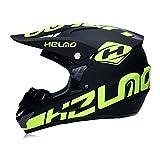 GAOLI Motorcycl Integral Helm, Adult Motocross-Helm, Geschenkbrille Maskenhandschuhe, Fox-Moto Rennhelm für Mann und Frau,A,S