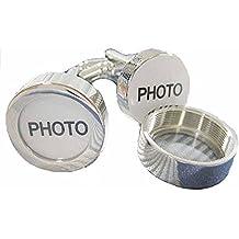 korpikus® Uomo novità Shiny Silver Colore Acciaio inossidabile Photo gemelli in sacchetto libero del (Polsino Del Papà Gemelli)