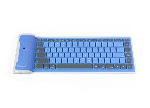 Demarkt Tragbar Faltbar Wireless Bluetooth Tastatur Silikon Wasserdicht Nimble flexible Gummi Silikon Bluetooth Tastatur für iPad Samsung Android Windows Tablets iPhone (Blau)
