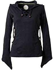 Vishes – Alternative Bekleidung – Elfenshirt mit Zipfelkapuze und Bändern zum Schnüren