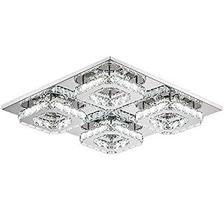 SAILUN 48W Dimmbar Quadrat LED Kristall Deckenleuchte Badleuchte Licht Schlafzimmer Wohnzimmer Deckenlampe (48W Dimmbar)
