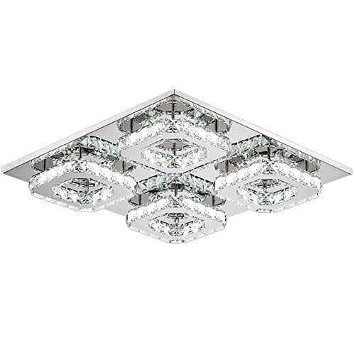 SAILUN® 48W Dimmable Square LED Crystal Plafonnier Salle de bain Light Light Chambre à coucher Salon Plafonnier