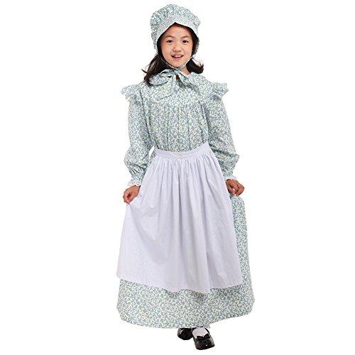erican Pioneer Kolonial Kostüm Prairie Kleid 100% Baumwolle (4 Farben Option) (Light Blue, US-12) (Kolonial Mädchen Halloween Kostüm)