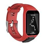 Waotier für Tomtom Runner 3 Armband mit Gehäuse Schutzhülle Silikon Armband Kompatibel für Tomtom Runner 3/2 Tomtom Adventurer / Golfer2 / SE Sport Armband mit Edelstahl Verschluss (Rot)