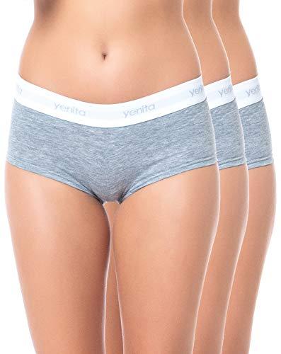 Yenita 3er Set Damen Underwear Modern-Sports-Collection, Panty, Grau, Gr. S -