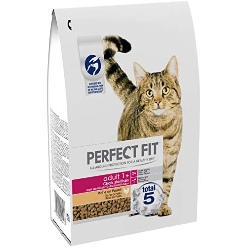 Perfect Fit Croquettes pour chat adulte stérilisé, riche en poulet, 3 sacs de 2,8kg