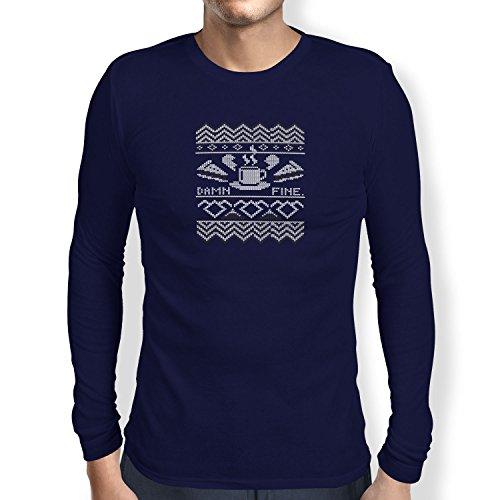 TEXLAB - Damn Fine Coffee - Herren Langarm T-Shirt Navy