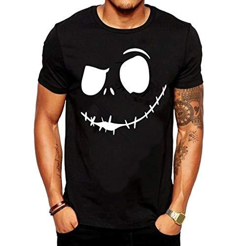 Auied Herren Sommer New Evil Smile Gesicht Gedruckt Rundkragen Bequeme Baumwolle T-Shirt Top