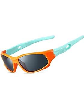 ATTCL Unisex-niños Deportes Gafas De Sol Polarizado Uv400 Protección Súper Ligero años 3-12 5025-orange-green