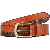 K London Men Casual Two-Tone Brown Cut Work Genuine Leather Belt (two_tone_brn_cutwork_34)