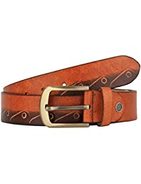 K London Men Casual Two-Tone Brown Cut Work Genuine Leather Belt (two_tone_brn_cutwork)