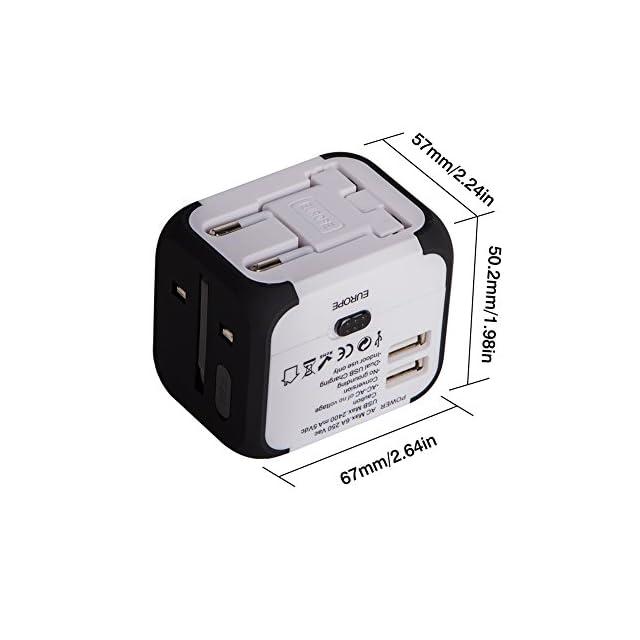 Voyage Adaptateur avec 2 USB MILOOL Adapteur Chargeur USB Convertisseur pour US UK UA EU Environ 150 Pays Universel Multi- Prise de Courant Chargeur avec Fusible de Sécurité Dual USB (blanc) ...