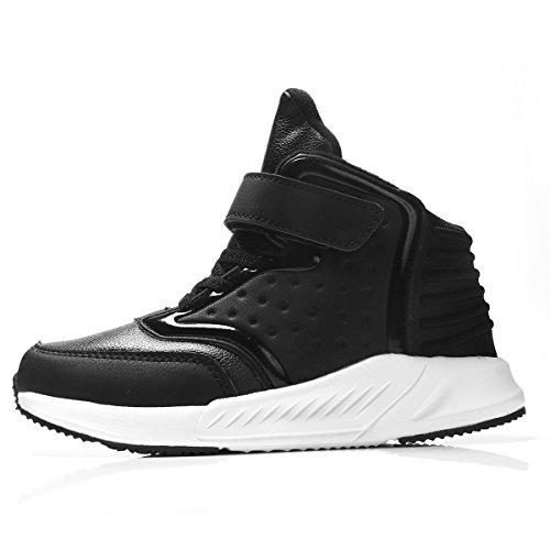 Leaproo Kinderschuhe High-Top Sneaker für Jungen und Mädchen Wasserdichte Rutschfest Stiefel Schwarz-32 (High Top Sneaker Stiefel)