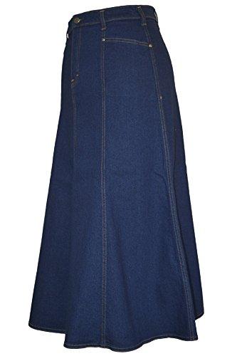 Ladies Plus Size Long Flared Indigo Stretch Denim Maxi Skirt Sizes 14 to 26