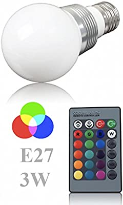 (Energía: A) Bombilla LED + 1mando a distancia Cambio de color Lámpara, Bombilla, E273W RGB Lámpara LED Bulb,–Bombilla LED con Magia Wireless Remote Control