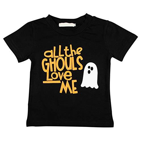 Kinder Halloween T-Shirt Baby Tees Schwarzes Top für Alter 1-5 Baumwollhemd