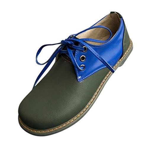 MakefortuneDamen Leder Oxfords Bequeme Büro Low Heel Schnürschuhe Round Toe Damen Vintage Schuh Derby Pleaser Oxford Pumps