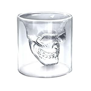"2x Verre Alcool ""Tete Mort"" Head Shot Skull Crystal Glass Crane Cristal Coupe vodka verrerie"