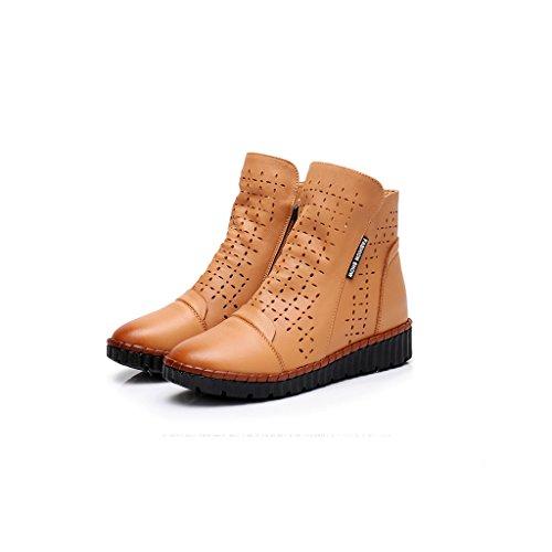 Kurze Stiefel Frauen Flat Spring und Summer Hollow Damen Stiefel Casual ausgehöhlten Sandalen Leder Soft Bottom Damenschuhe (Farbe : Yellow-Brown, Größe : 5UK)