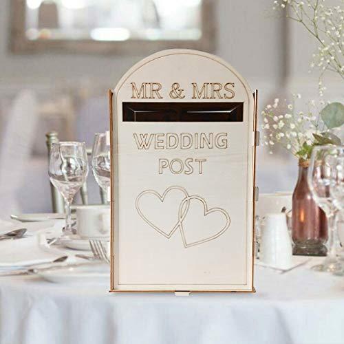 Gaddrt biglietto per matrimonio pino massiccio completamente assemblato biglietto per matrimonio personalizzato post box posta reale stile contenitore per matrimonio con serratura 33cm x 20cm x 20cm