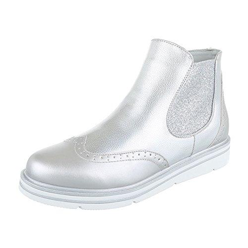 Chelsea Damen Schuh (Ital-Design Chelsea Boots Damen-Schuhe Stretch Stiefeletten Silber, Gr 39, H719-)