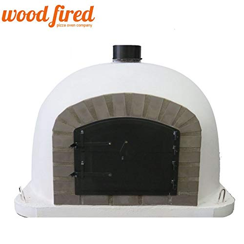 White Deluxe Wood Fired Pizza Oven, Grey Arch, Black Door, 70cm x 70cm