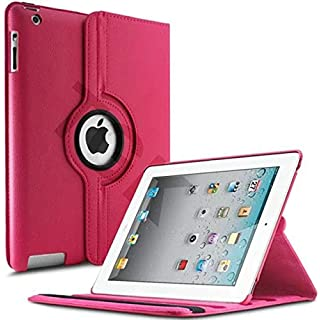 Tgk 360 Degree Rotating Leather Smart Case Cover Stand  Auto Sleep/Wake Function  For Apple Ipad 2/3/4   Pink