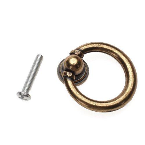 TMODD Vintage Cabinet Drawer Hardware Drop Ring Pull Handles Knobs Bronze Tone 10PCS