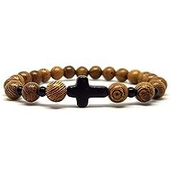 Idea Regalo - KARDINAL.WEIST bracciale croce-crocifisso fatto di perline di legno, gioielli per uomini e donne, FEDE, AMORE, SPERANZA (Typ 3)