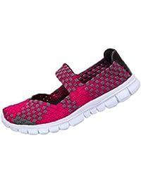 Anguang Mujer Tejido Ligero Peso Elástico Zapatos Planos Entrenador Ponerse Deporte Zapatos de Agua
