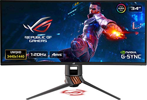 "Asus ROG SWIFT PG349Q 34"" Curvo UWQHD Gaming Monitor, 3440 x 1440, IPS, fino a 120 Hz, DP, HDMI, USB 3.0, G-SYNC, AuraSync"