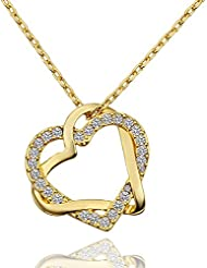 LDUDU® Collar de mujer Doble Corazon con Cristal Swaroski Chapado de Oro Amarillo para mujer 45-50cm regalo de Cumpleaños Navidad San Valentin Multicolores