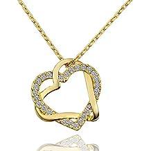 LDUDU® Donna collana a forma di 2 cuori Placcato oro giallo 45-50cm per Donne Ragazze regalo di compleanno/Natale/San valentino-multicolore