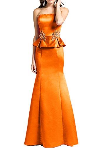 Missdressy Elegant Meerjungfrau Trägerlos Satin Lang Abenkleider Ballkleider Promkleider Orange