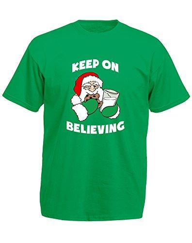 Keep On Believing, Mann Gedruckt T-Shirt Grün/Weiß/Transfer