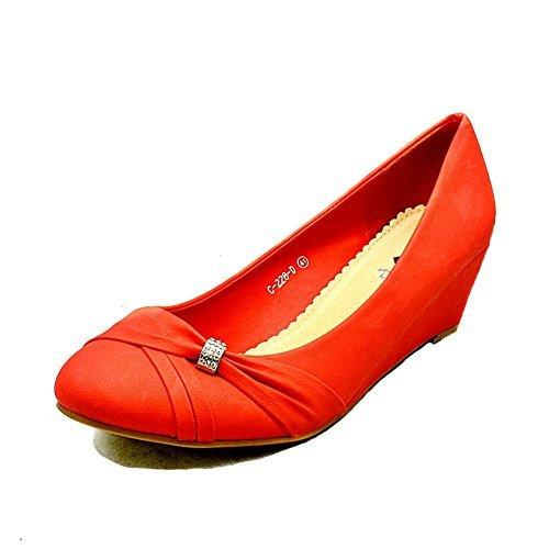 Mesdames daim chaussures basses de la cour de coin - Grandes Tailles red