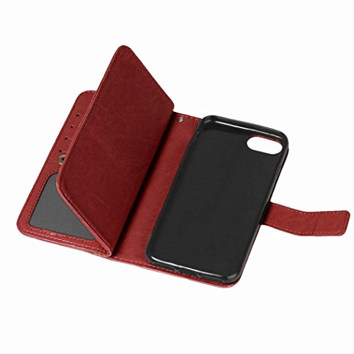 Custodia iPhone 7 - Cover per Apple iPhone 7 - ISAKEN Accessories Cover in PU Pelle, Elegante Portafoglio Tinta Unita Custodia in Sintetica Ecopelle Libro Bookstyle Wallet Flip Nove Carte Slots Case C Marrone