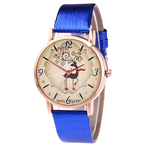 TianWlio Armbanduhren Damen Mode Weihnachtsmuster Quarz Analoguhren Lederarmband Armbanduhr