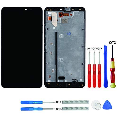 Swark - display lcd compatibile con microsoft/nokia lumia 640 xl (nero con telaio), touch screen lcd + strumenti